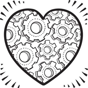 Doodle style workings of the human heart romance or relationship illustration in vector format. Shows gears inside a Valentine's Day icon.