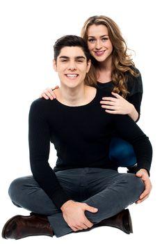 Studio shot of romantic young couple