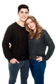 Romantic young caucasian couple