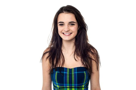 Gorgeous teen in sleeveless dress