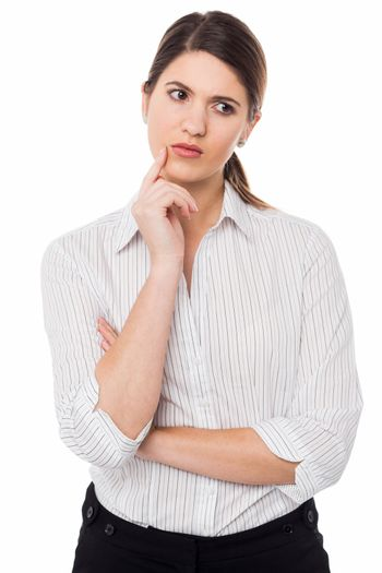 Lady concerned about her business growth