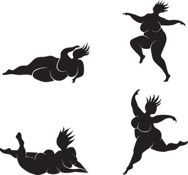 Silhouette of dancing fat woman