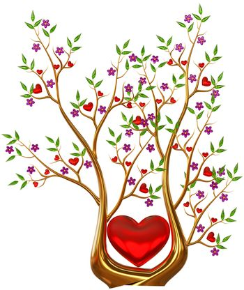 Beautiful golden tree with expensive ruby red hearts, green leafs and lilac flowers as jewelry