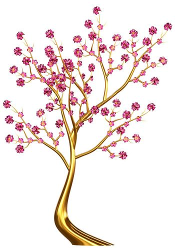 Beautiful golden tree with expensive lilac flowers as jewelry