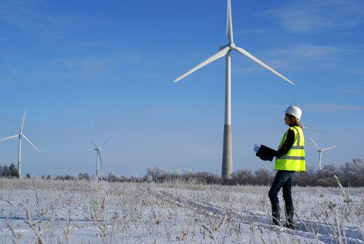 engineers with wind turbines