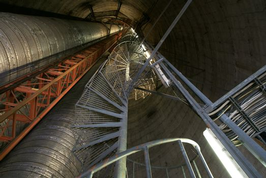 inside of industrial smoke stack
