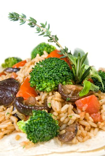 macro of risotto with vegetables