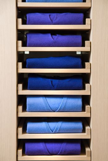 store shelf with color clothes