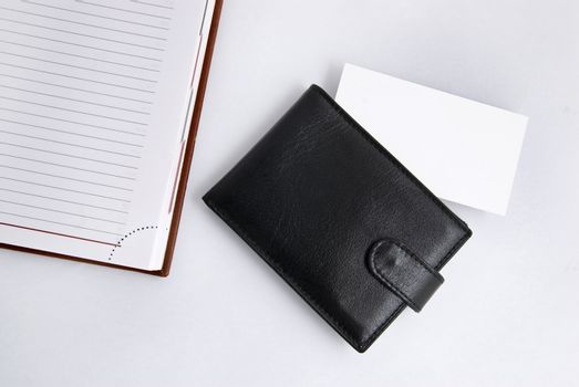 Empty business card with diary and card holder
