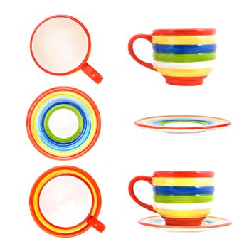 Ceramic funny color cup with saucer isolated on white