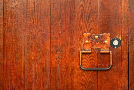 handle on the wooden door