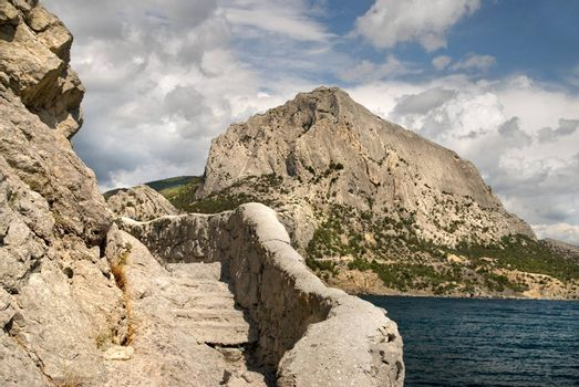Stairs in the rock in crimea