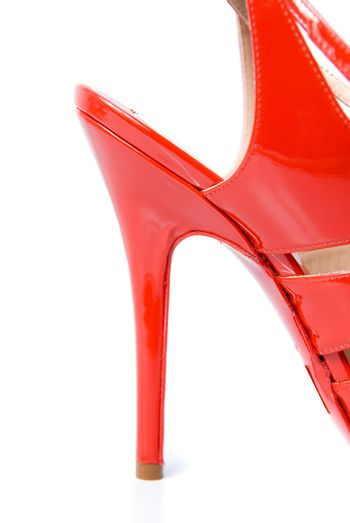 heel of red leather female shoe isolated on white