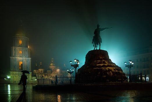 Statue of Bogdan Khemelnitskiy in fog