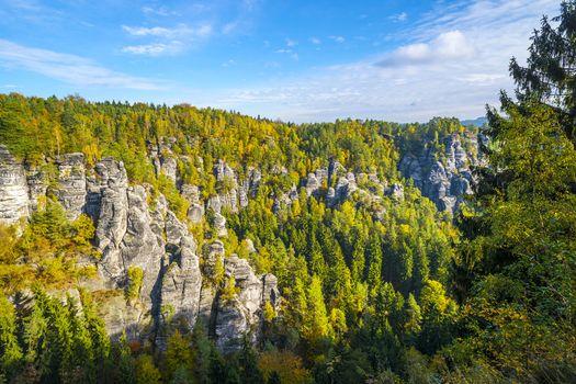 Lanscape in Saxon Switzerland near Bastei