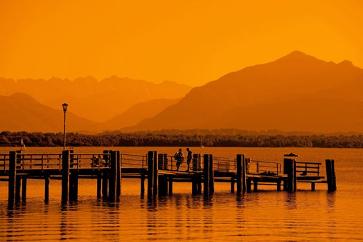 Eveningmood at Chiemsee with golden sunlight