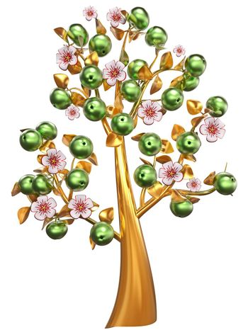Beautiful golden apple-tree with impressive green apples, white flowers and golden leaves as jewelry
