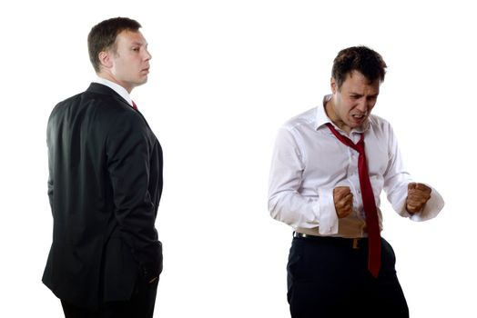 Two business men with different feelings
