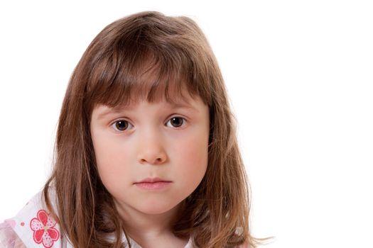 Cute little girl looking sad