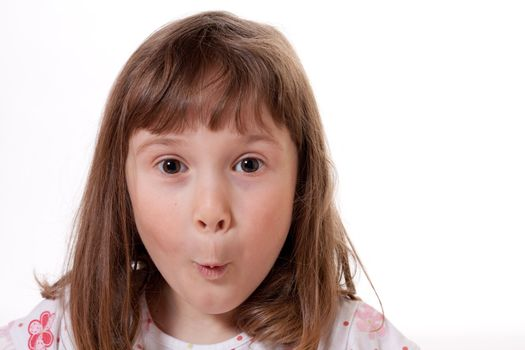 Little girl with a surprised expression