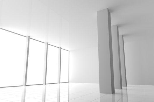 Empty Modern White Interior with Windows and Columns