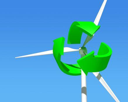 Wind Generator Turbine over Blue Sky.