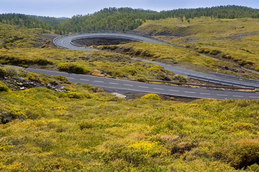 green mountain winding road curves