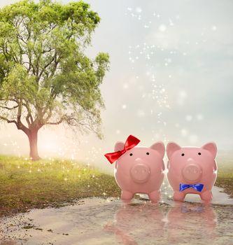 Piggy bank couple in a magical landscape