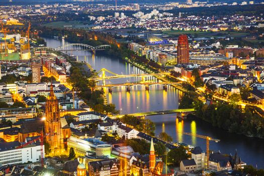 aerial of Frankfurt with river Main