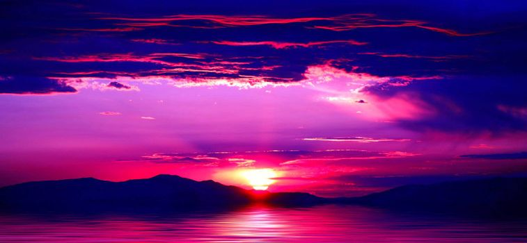 Beautiful mountains with spectacular purple sunrise or sunset at Lake Tahoe in California and Nevada