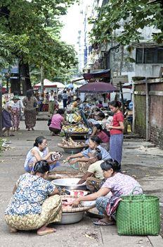 street market in yangon myanmar