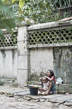 children on street of yangon myanmar
