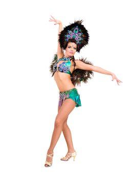 Beautiful carnival dancer woman full length studio portrait isolated on white