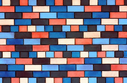 The facade view of colorful brick wall for design background