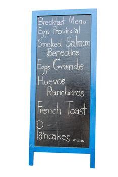 Blue wooden framed breakfast menu, isolated in white