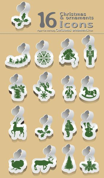 set of paper cut and hanging Christmas and ornaments icon