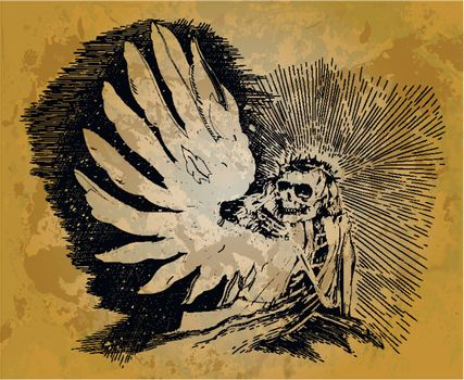 Skeleton with wings in the style of engraving