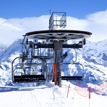 Ski chair-lift arrival