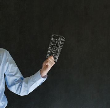 Business angel investor man with chalk dollars notes