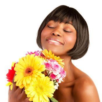 Black girl enjoy flowers