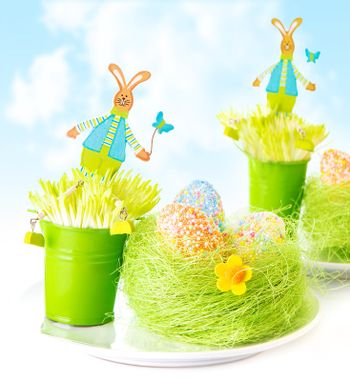 Easter eggs with bunny toys