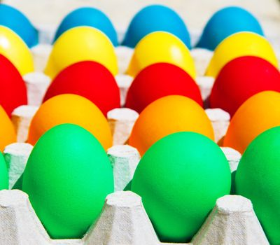 Different colors Easter eggs