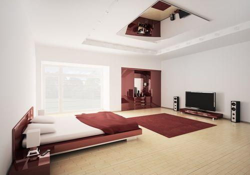 Modern bedroom 3d render