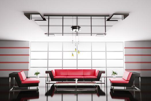 Interior of hall 3d render