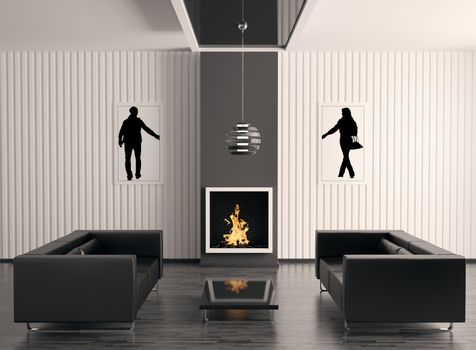 Interior with fireplace 3d render