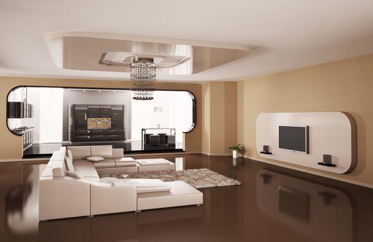 Interior of apartment 3d render