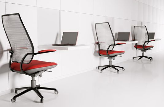 Workplace in white 3d