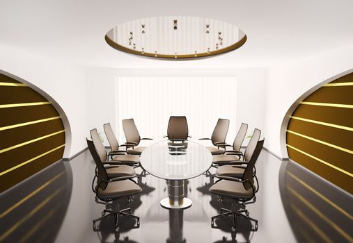 conference room with oval table 3d