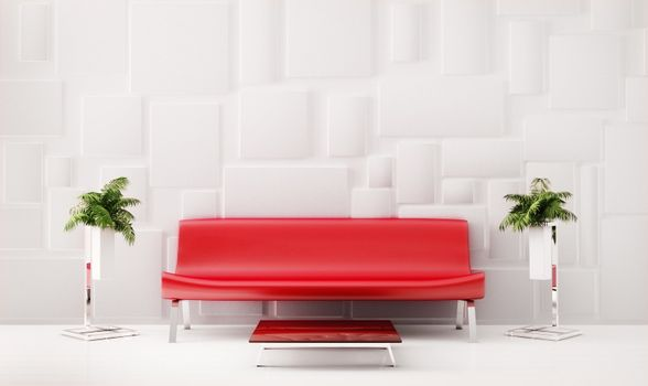 Red sofa 3d render