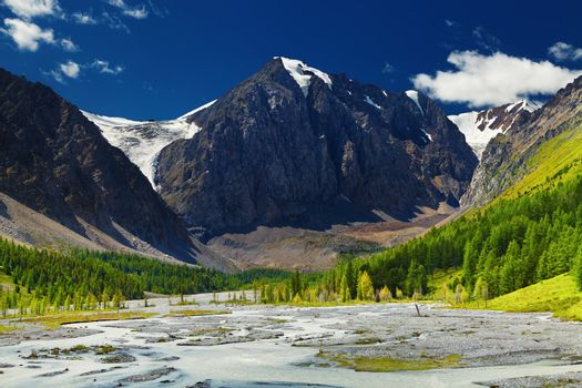 Mountain valley with river and green forest, Altai mountains, Russia